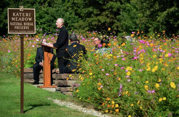 Albany Catholic Bishop Howard Hubbard dedicated the Kateri Meadow Natural Burial Preserve at Most Holy Redeemer Cemetery in Niskayuna, N.Y. Sept 13, 2012.    (Skip Dickstein/Times Union) Photo: Skip Dickstein / 00019221A
