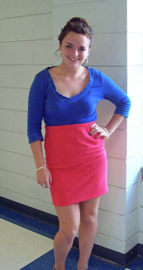 Hannah Bowersox from Schoharie Central School, grade 12, showing off her take on color blocking with her cobalt blue ¾ sleeve top and coral skirt. Photo by Erik DeFruscio. Photo: New Visions: Journalism & Media Studies