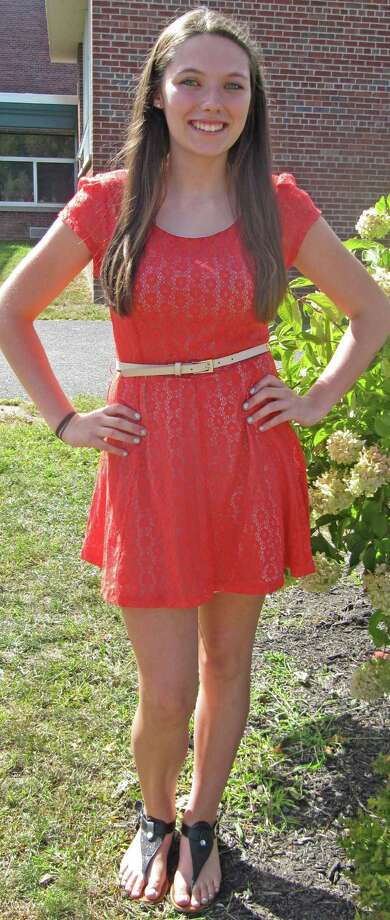 Alyssa Hart, Grade 12, of Schalmont High School, wears bright red lace. Photo by Lindsey Burns. Photo: New Visions: Journalism & Media Studies