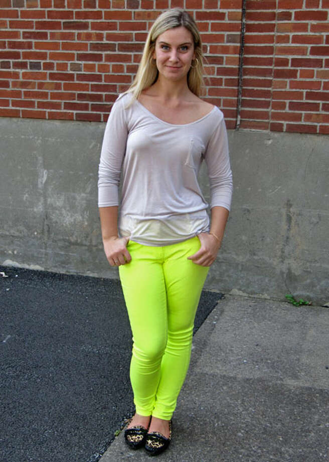 Tabatha Wright, Grade 12, of Schalmont High School, models neon yellow pants. Photo by Lindsey Burns. Photo: New Visions: Journalism & Media Studies