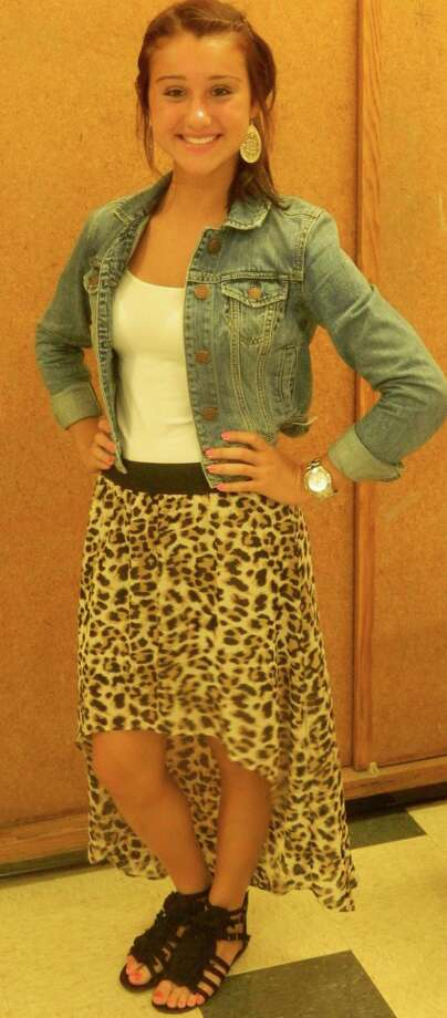 Alexandra Cardinal, a senior at Schalmont High School, wears a cheetah print high-low skirt and a denim jacket. Photo by Kara Curtin. Photo: New Visions: Journalism & Media Studies