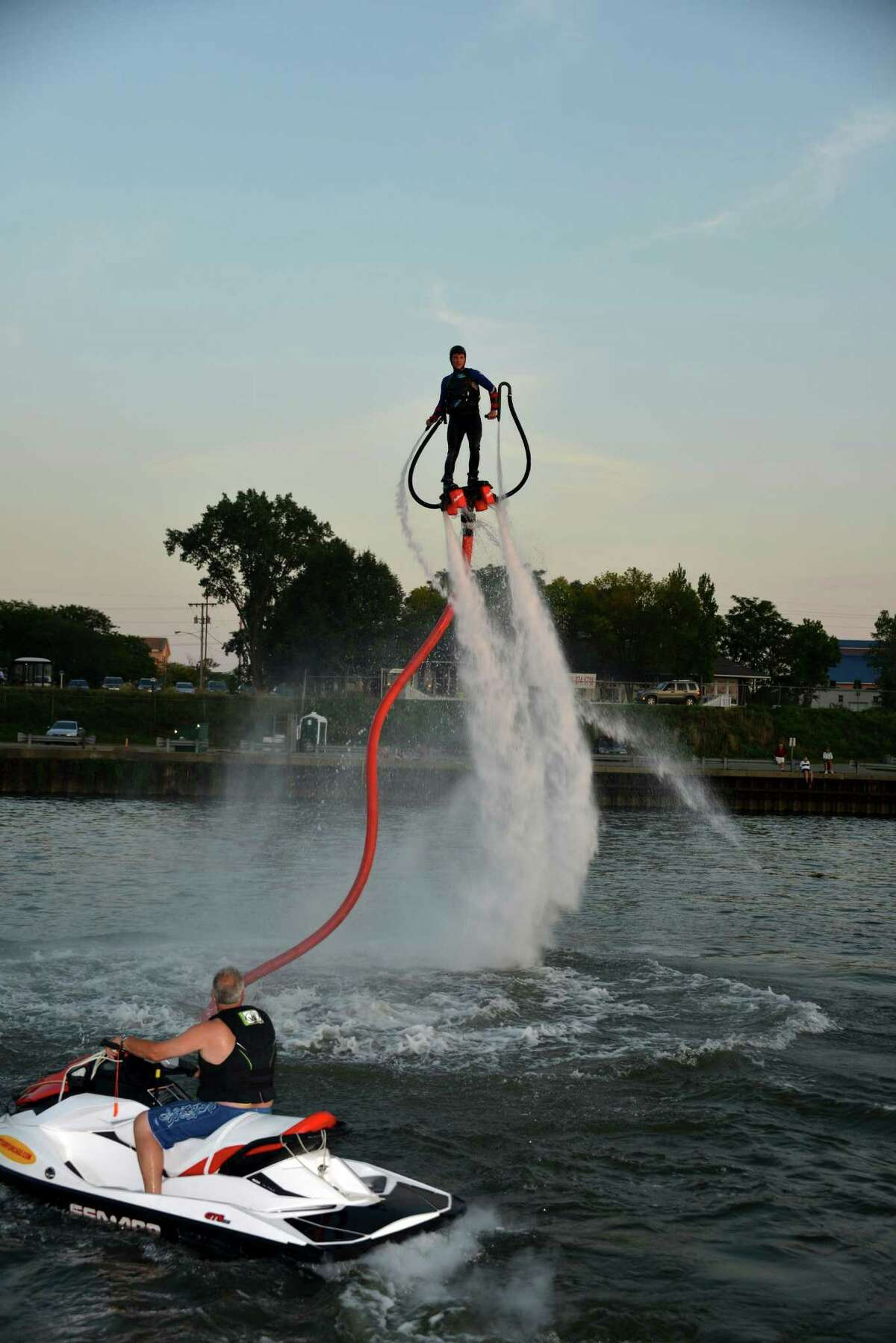 Superhero abilities like flying through the air or speeding underwater can become a reality on Flyboard, a new jet-propulsion technology that will be demonstrated at the Norwalk Boat Show. Flyboard works with a Personal Watercraft (PWC) and users can fly up to 35 ft. in the air and dive deep. Movements are controlled by tilting feet and using handheld nozzles to help with stabilization, similar to ski poles.
