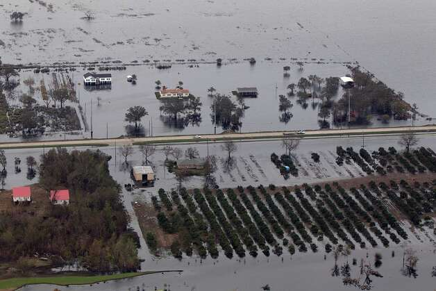 This aerial photo shows flooded homes and citrus orchards in the aftermath of Hurricane Isaac in Plaquemines Parish, La., Wednesday, Sept. 5, 2012. (AP Photo/Gerald Herbert) Photo: Gerald Herbert, STF / AP