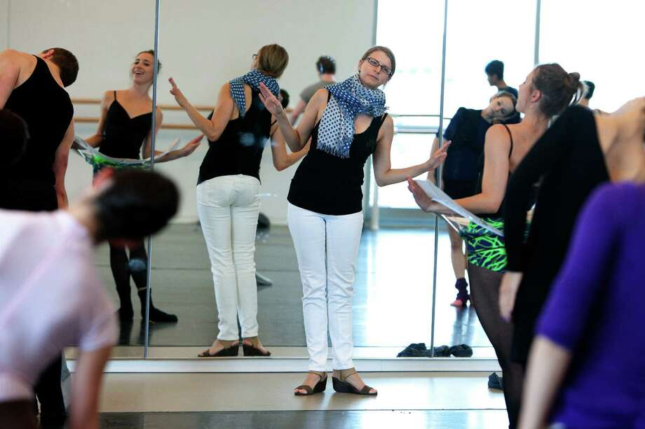 Choreographer Aszure Barton works with dancers at the Houston Ballet Center for Dance in preparation for their performance. Photo: Cody Duty / © 2011 Houston Chronicle