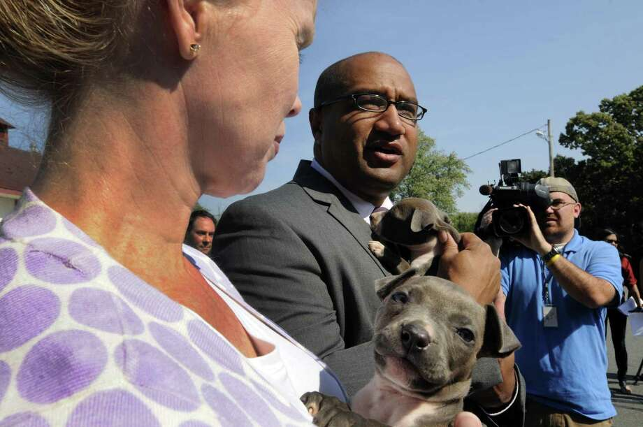 Mohawk Hudson Humane Society Director of Operations Tina Murray and Albany County District Attorney David Soares hold the two surviving puppies during a press conference at The Mohawk Hudson Humane Society in Menands, NY Friday Sept. 14, 2012. (Michael P. Farrell/Times Union) Photo: Michael P. Farrell