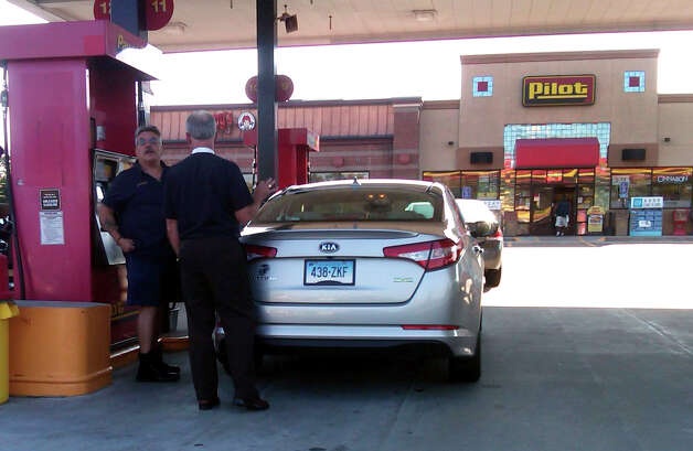 This photo taken by Robert Kravitz at the Pilot  truck stop/rest area in Milford, Conn. on Thursday, Sept. 13, 2012. It shows Paul Neugebauer, the man who allegedly confronted, verbally abused and threatened Kravitz for displaying his support for Obama 2012. Neugebauer is a Bridgeport fire lieutenant who has been suspended pending an outcome of the investigation. Photo: Contributed Photo / Connecticut Post Contributed