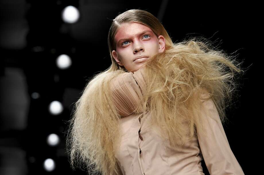 Bad hair day for a werewolf? Either that, or it's a design from the Corrie Nielsen Spring/Summer 2013 collection during London Fashion Week.  Photo: Jonathan Short, Associated Press