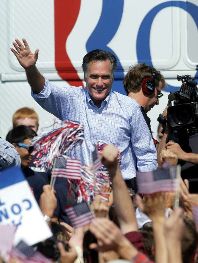 Republican presidential candidate, former Massachusetts Gov. Mitt Romney waves to supporters during a campaign event at Van Dyck Park, Thursday, Sept. 13, 2012, in Fairfax, Va. (AP Photo/Pablo Martinez Monsivais) Photo: Pablo Martinez Monsivais, Associated Press / AP