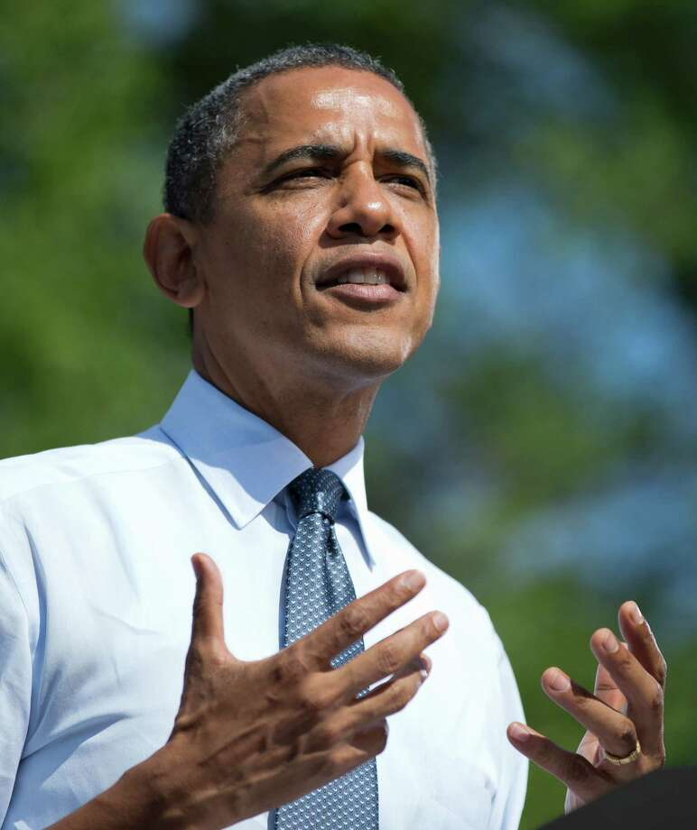 President Barack Obama speaks during a campaign event at Lions Park, Thursday, Sept. 13, 2012, in Golden,  Colo. (AP Photo/Carolyn Kaster) Photo: Carolyn Kaster, Associated Press / AP