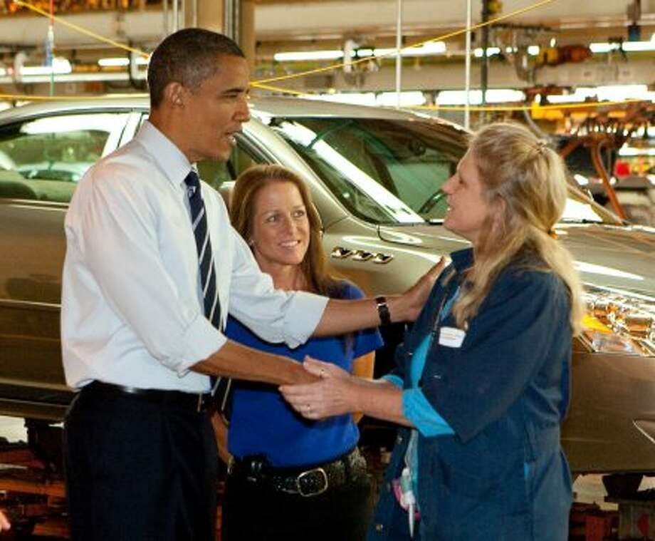 President Barack Obama greets workers at the General Motors Detroit-Hamtramck Assembly Plant Friday, July 30, 2010 in Hamtramck, Michigan. Chevrolet announced today, it will increase the U.S. production capacity of the 340-mile extended range electric Chevrolet Volt by 50 percent due to strong public interest. The Volt will be built at the Detroit-Hamtramck Plant. (Photo by John F. Martin for Chevrolet) (John F. Martin for Chevrolet)