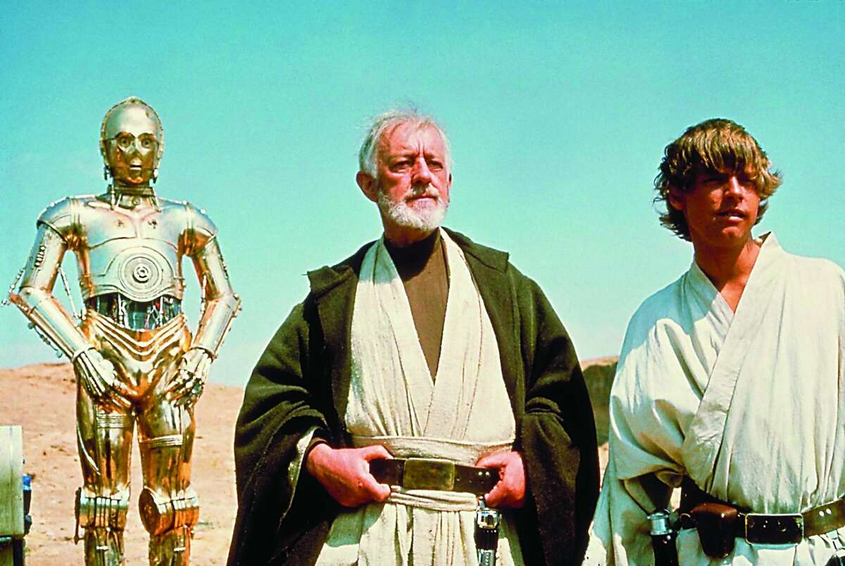 """C3PO, Alec Guinness and Mark Hamill in """"Star Wars"""""""