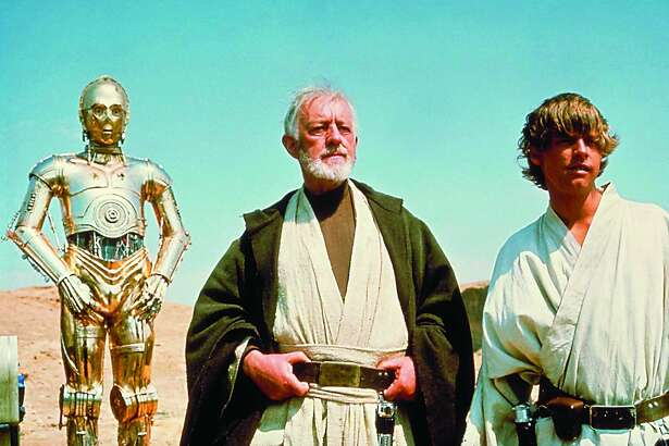 "C3PO, Alec Guinness and Mark Hamill in ""Star Wars"""