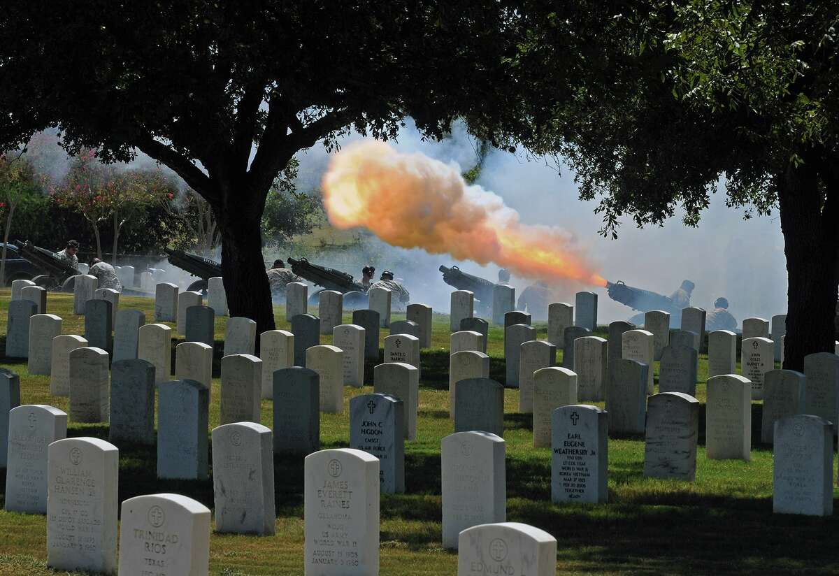 Volleys are fired at Fort Sam Houston National Cemetery, in this case for retired Lt. Gen. Johnny Johnston. At national cemeteries, rank is not a factor as to burial site.