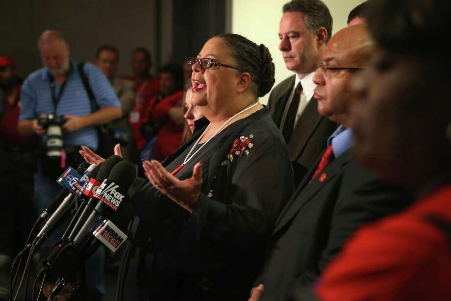 Chicago Teachers Union President Karen Lewis announces a tentative agreement that would end the five-day-old strike. One of the areas of contention for teachers concerned evaluations. Photo: Scott Olson, Getty Images / 2012 Getty Images