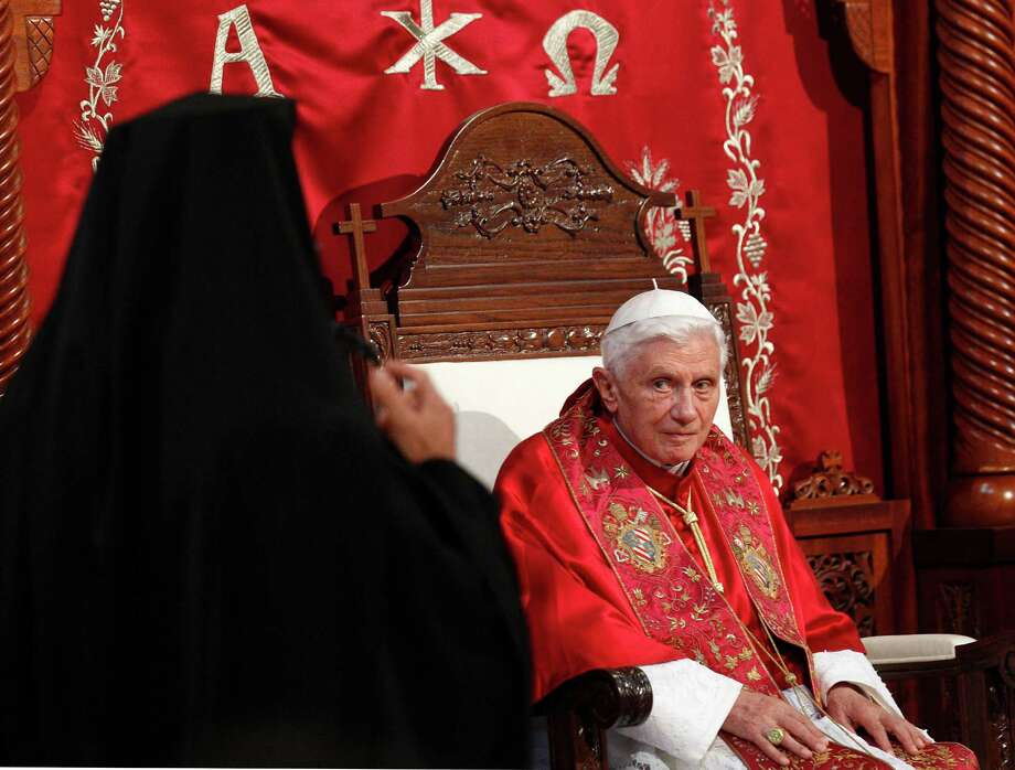 Pope Benedict XVI listens to Patriarch Gregor III Laham during a ceremony in Harissa, near Beirut. Photo: Alessandra Tarantino, Associated Press / AP