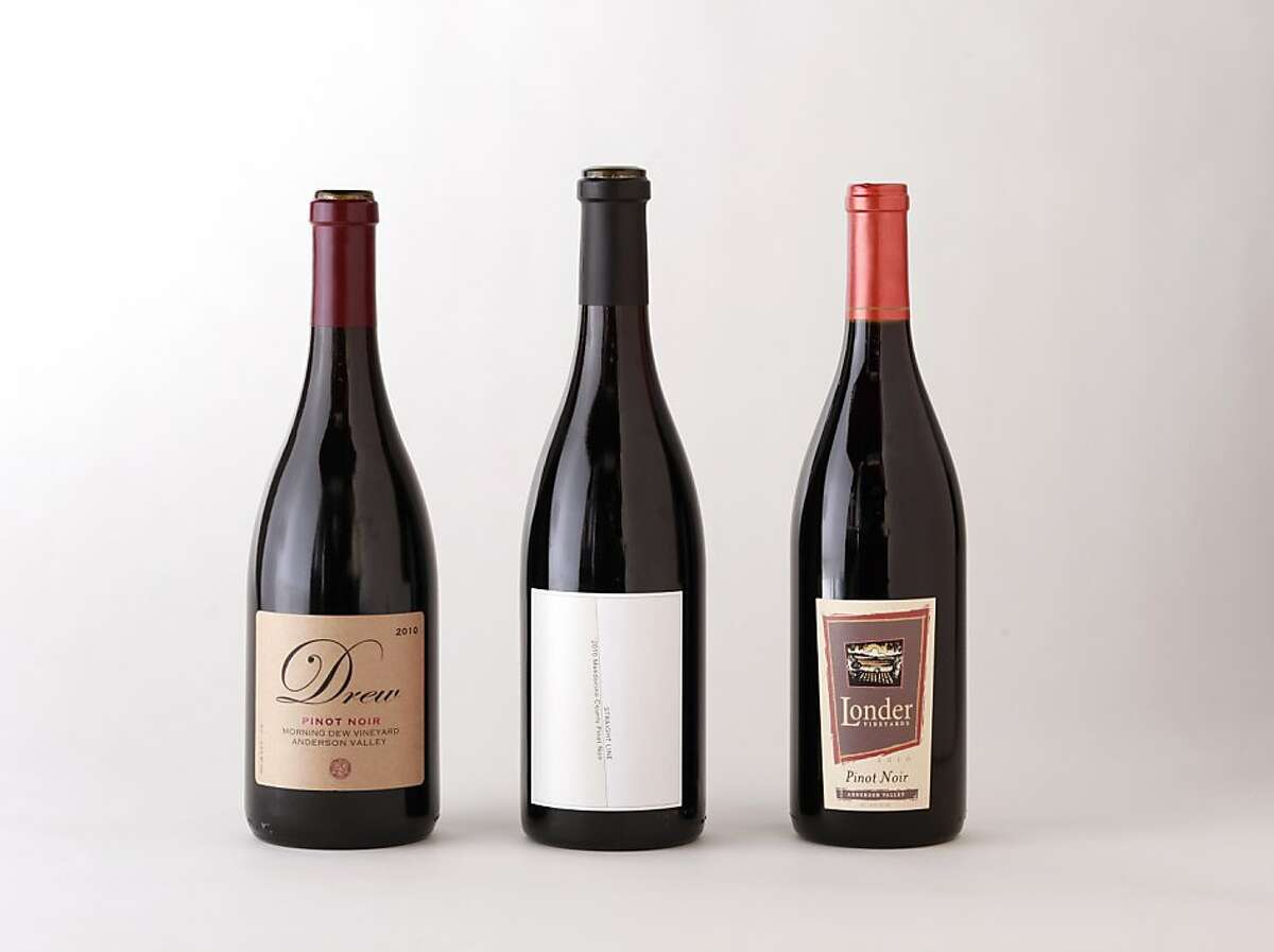 Mendocino Pinot Noir. from left: 2010 Drew Morning Dew Vineyard Anderson Valley Pinot Noir; 2010 Straight Line Mendocino Pinot Noir; 2010 Londer Vineyards Anderson Valley Pinot Noir.