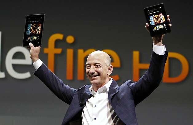 Amazon CEO Jeff Bezos debuted the Kindle Fire HD tablets on Sept. 6. It's available in 7- and 8.9-inch versions, and features 4G LTE, high-speed wifi, an HD display, dual stereo speakers with Dolby Digital Plus audio and, for better or worse, Amazon's custom interface. Photo: Reed Saxon, Associated Press