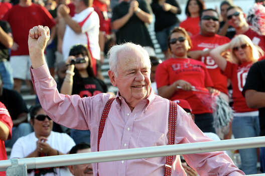 Tom Benson recognizes the fans as he arrives at the stadium. The University of the Incarnate Word plays Langston at Benson Stadium on Saturday, August 28, 2010. Photo: TOM REEL, Express-News / © 2010 San Antonio Express-News