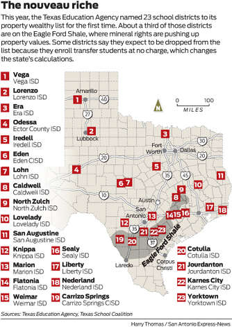 This year, the Texas Education Agency named 23 school districts to its property wealthy list for the first time. About a third of those districts are on the Eagle Ford Shale, where mineral rights are pushing up property values. Some districts say they expect to be dropped from the list because they enroll transfer students at no charge, which changes the state's calculations.  Photo: Harry Thomas