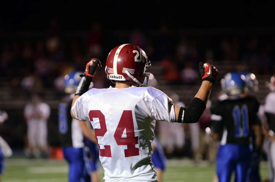Bethel's Nick Silva (24) reacts to a call during the first football game of the season against Bunnell at Bunnell High School in Stratford on Friday, Sept. 14, 2012. Photo: Amy Mortensen / Connecticut Post Freelance