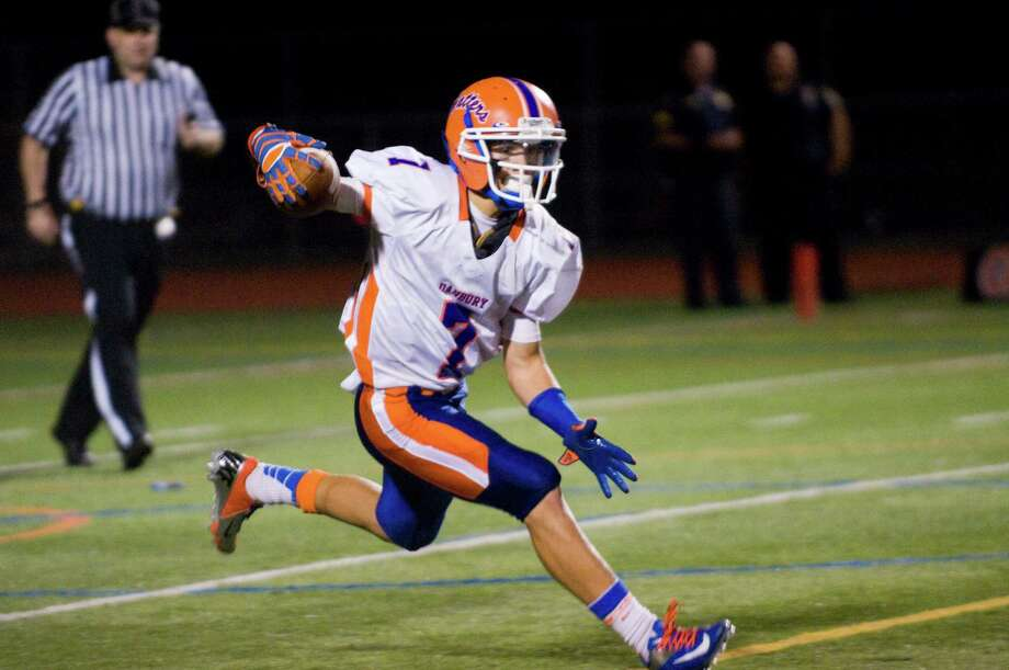 Danbury's Corey Chaffee in action as Norwalk High School hosts Danbury in a football game Friday, Sept. 14, 2012. Photo: Keelin Daly / Stamford Advocate Freelance