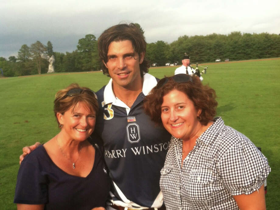 Greenwich residents and polo enthusiasts Roxanna, left, and Rebecca Zampieri with Argentine polo player Nacho Figueras at the Greenwich Polo Club Sept. 2. Photo: Contributed Photo