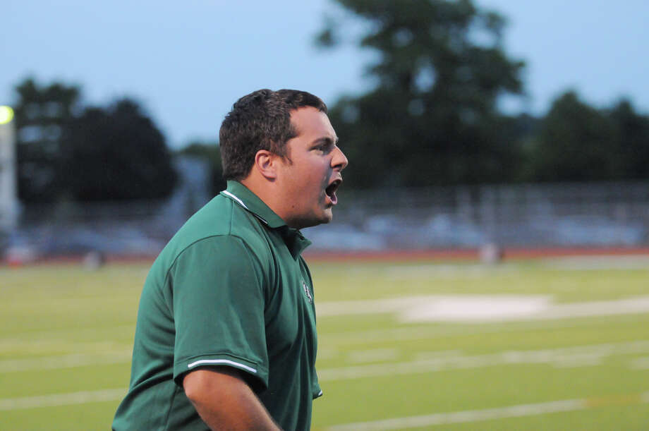 Norwalk Coach Sean Ireland on the sidelines as Norwalk High School hosts Danbury in a football game Friday, Sept. 14, 2012. Photo: Keelin Daly / Stamford Advocate Freelance
