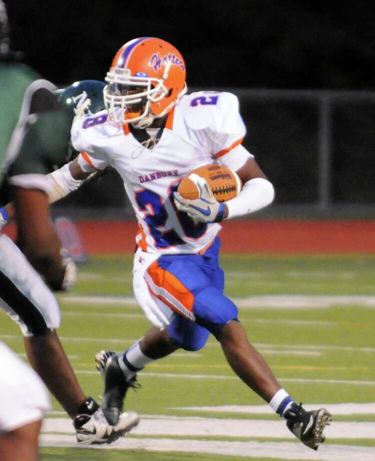 Danbury's Christopher Latham in action as Norwalk High School hosts Danbury in a football game Friday, Sept. 14, 2012. Photo: Keelin Daly / Stamford Advocate Freelance