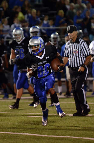 Bunnell ball carrier Devante Teel (80) during the first football game of the season against Bethel at Bunnell High School in Stratford on Friday, Sept. 14, 2012. Photo: Amy Mortensen / Connecticut Post Freelance