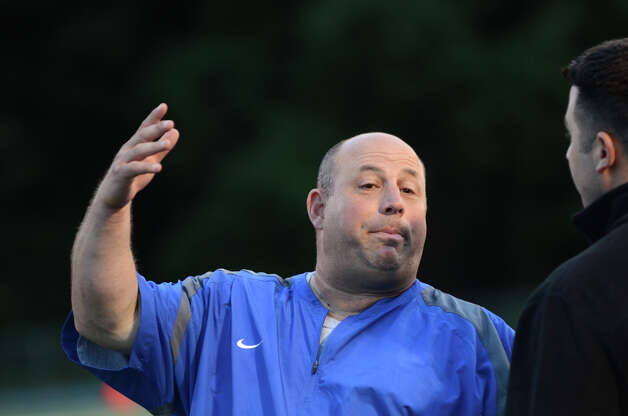 Bunnell head football coach Craig Bruno on the field during the first football game of the season against Bethel at Bunnell High School in Stratford on Friday, Sept. 14, 2012. Photo: Amy Mortensen / Connecticut Post Freelance