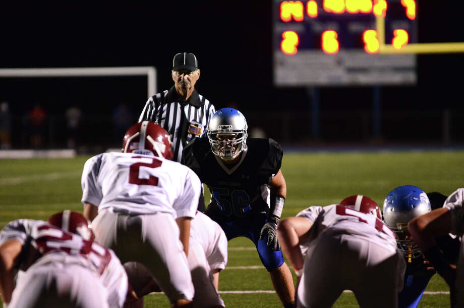 Bunnell's James Murphy (56) on the line during the first football game of the season against Bethel at Bunnell High School in Stratford on Friday, Sept. 14, 2012. Photo: Amy Mortensen / Connecticut Post Freelance