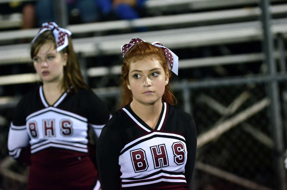 Bethel cheerleaders are on the sidelines as Bunnell High School faces off against Bethel during the first football game of the season at Bunnell High School in Stratford on Friday, Sept. 14, 2012. Photo: Amy Mortensen / Connecticut Post Freelance