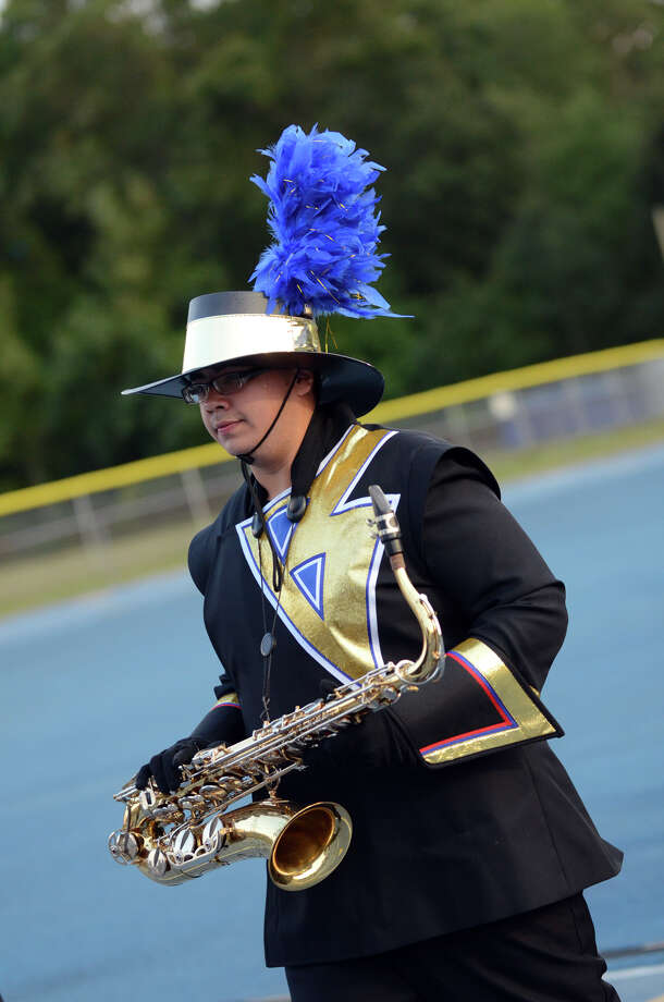 The Bunnell marching band on the field during the first football game of the season against Bethel at Bunnell High School in Stratford on Friday, Sept. 14, 2012. Photo: Amy Mortensen / Connecticut Post Freelance
