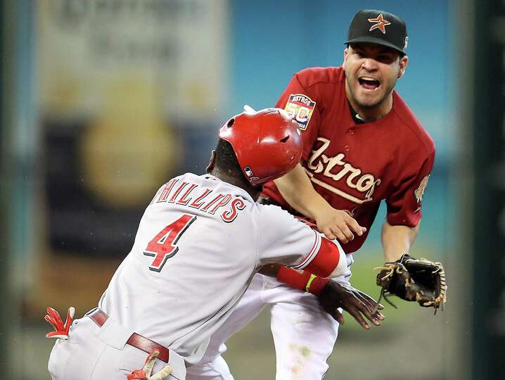 Sept. 2: Reds 5, Astros 3 Reds second baseman Brandon Phillips crashes into