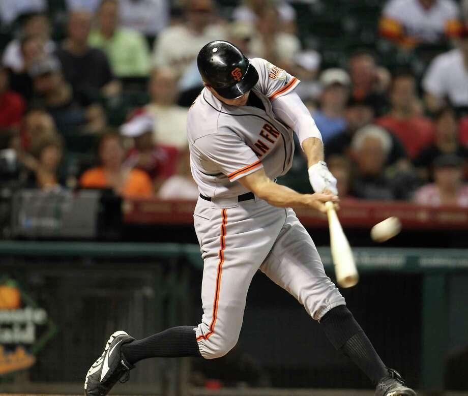 Aug. 29: Giants 6, Astros 4Giants right fielder Hunter Pence a three-run home run.Record: 40-90. Photo: Karen Warren, Houston Chronicle / © 2012  Houston Chronicle