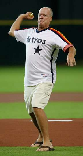July 27: Pirates 6, Astros 5 Former Astros pitcher Mike Scott throws out the