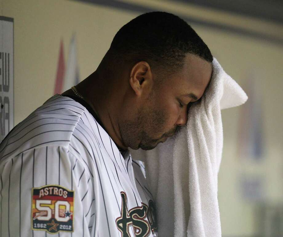 July 25: Reds 5, Astros 3 Astros closer Francisco Cordero wipes his head after blowing his second straight save.Record: 34-65. (Karen Warren / Chronicle) Photo: Karen Warren, Houston Chronicle / © 2012  Houston Chronicle