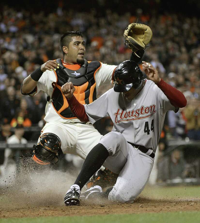 July 14: Giants 3, Astros 2 (12 innings) Justin Maxwell scores from second base to tie the game 2 to 2 in the ninth inning on a throwing error from catcher Hector Sanchez. Record: 33-55. Photo: Thearon W. Henderson, Getty Images / 2012 Getty Images
