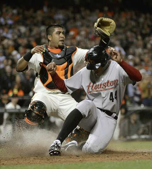 July 14: Giants 3, Astros 2 (12 innings) Justin Maxwell scores from second b