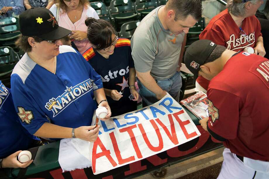 July 8: Brewers 5, Astros 3 (10 innings) Astros second baseman Jose Altuve signs autographs in his last game before representing the team at the All-Star Game.Record: 33-53. Photo: Smiley N. Pool, Houston Chronicle / ©   Smiley N. Pool