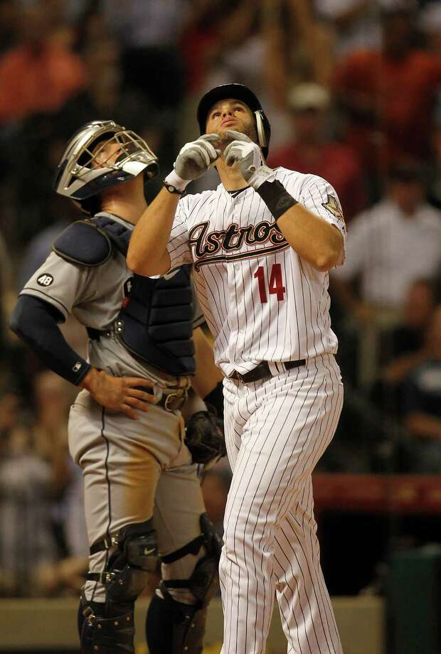 June 26: Astros 5, Padres 3J.D. Martinez reacts after his two run home run in the fifth inning. The runs proved to be crucial, as the Padres tacked on two runs in the ninth inning to cut into the Astros' lead.Record: 31-43. (Karen Warren / Chronicle) Photo: Karen Warren, Houston Chronicle / © 2012  Houston Chronicle