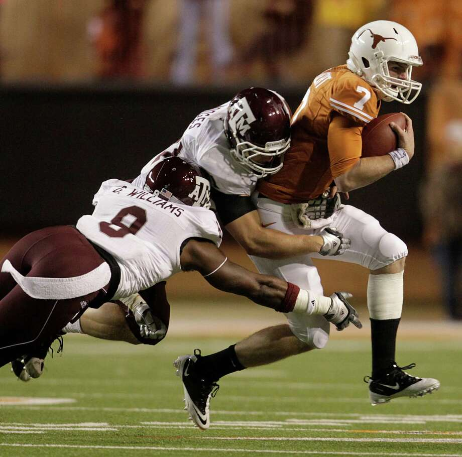 Former Texas and current SMU quarterback Garrett Gilbert knows the Aggies well. In 2010, the Aggies won 24-17 with Gilbert at the Longhorns' helm. Photo: Karen Warren / Houston Chronicle