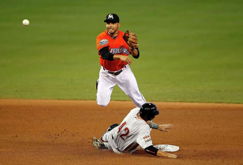 April 15: Marlins 5, Astros 4 (11 innings) Marlins second baseman Omar Infan
