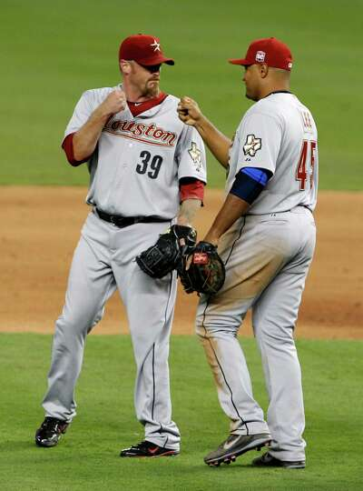 April 14: Astros 5, Marlins 4 Astros closer Brett Myers (39) celebrates with