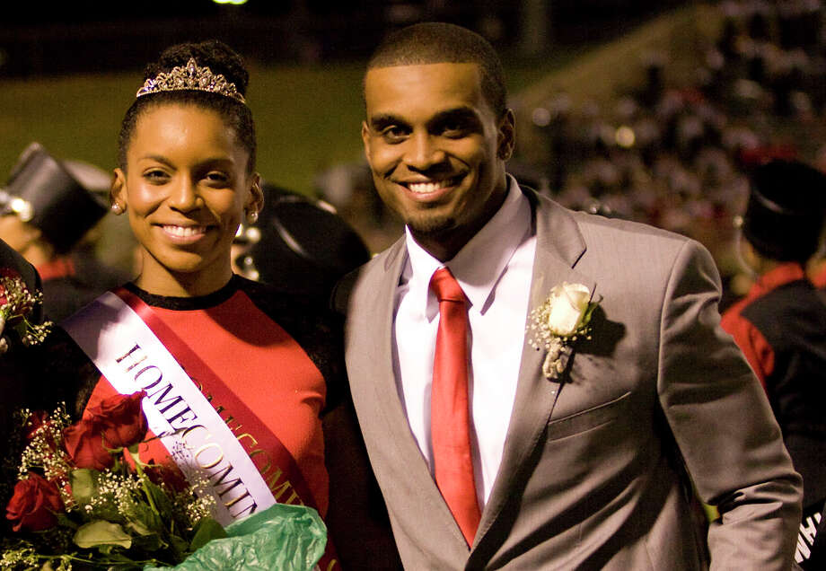 Cy Woods Homecoming King and Queen Chloe Collins and Gino Collins at Pridgeon Stadium on Friday, Sept. 14, 2012, in Houston. Photo: Joe Buvid, For The Chronicle / © 2012 Joe Buvid