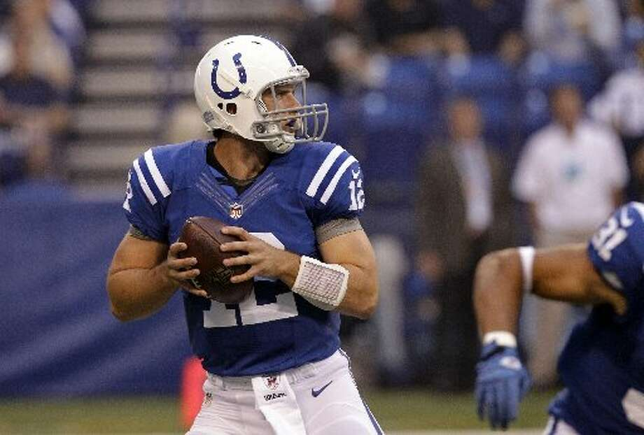 at IND ,Week 17, Dec. 30 ,noon, CBS Ind 21, Hou 17 Record: 11-5 Andrew Luck throws for two touchdowns and runs for another to help the Colts keep the Texans from a first-round bye.  (Michael Conroy / AP)