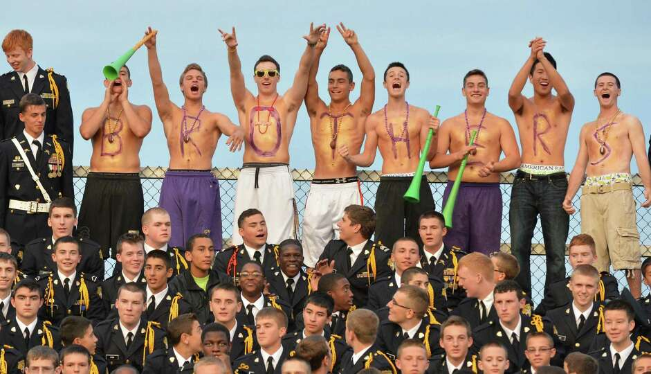 CBA fans cheer during during Friday night's game against La Salle at CBA in Colonie Sept. 14, 2012.