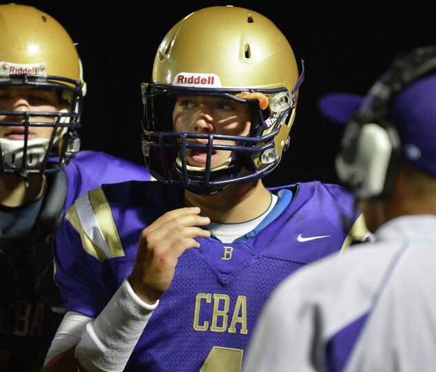 CBA quarterback Troy Anthony during Friday night's game against La Salle at CBA in Colonie Friday Se