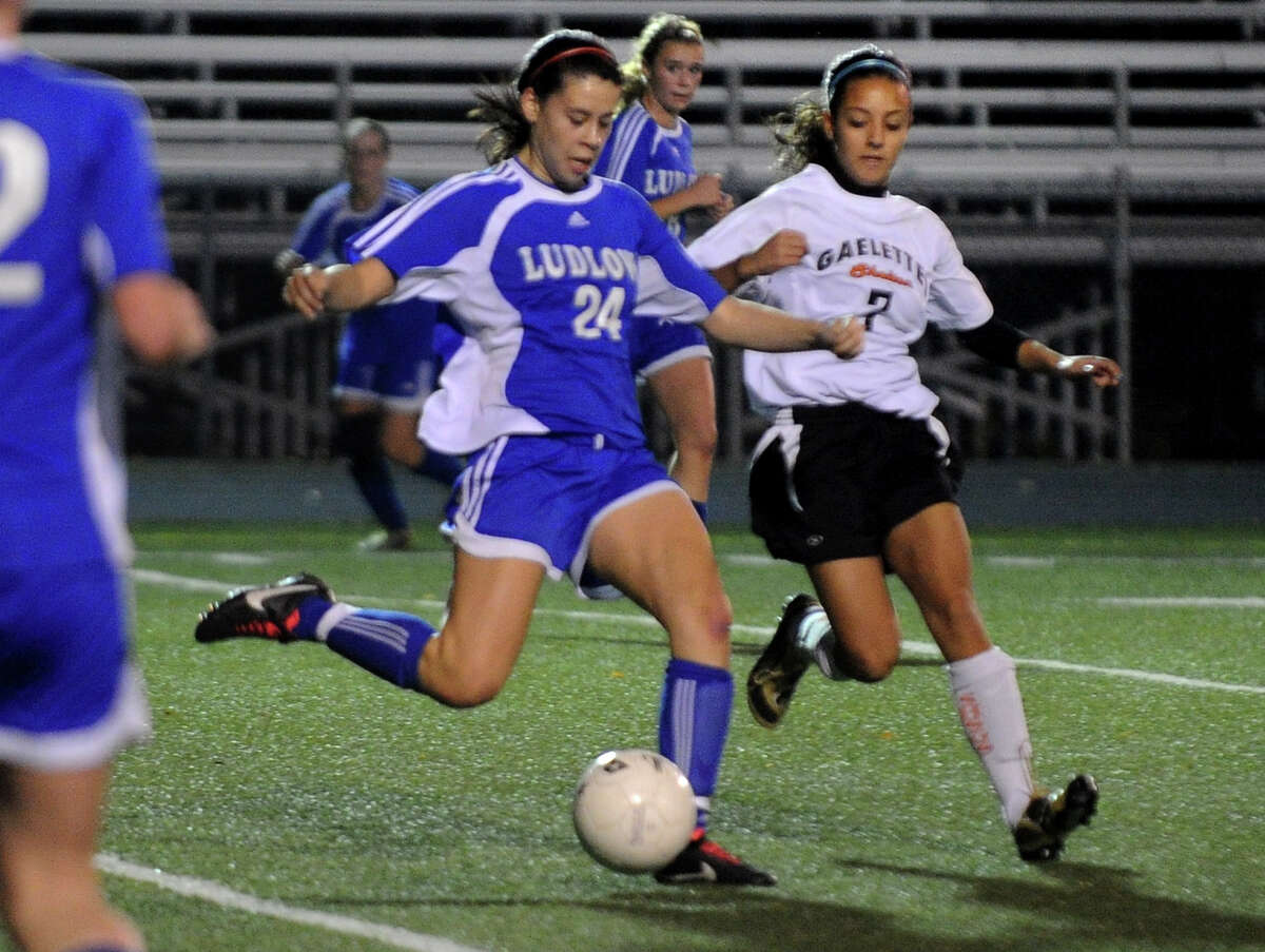 Highlights from CIAC Class LL girls' soccer tournament action between Shelton and Fairfield Ludlowe in Shelton, Conn. on Thursday November 10, 2011. Fairfield Ludlowe's #24 Allyson Doyle, left, and Shelton's #7 Vanessa Marques.