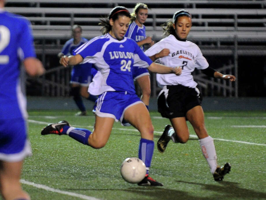 Highlights from CIAC Class LL girls' soccer tournament action between Shelton and Fairfield Ludlowe in Shelton, Conn. on Thursday November 10, 2011. Fairfield Ludlowe's #24 Allyson Doyle, left, and Shelton's #7 Vanessa Marques. Photo: Christian Abraham / Connecticut Post